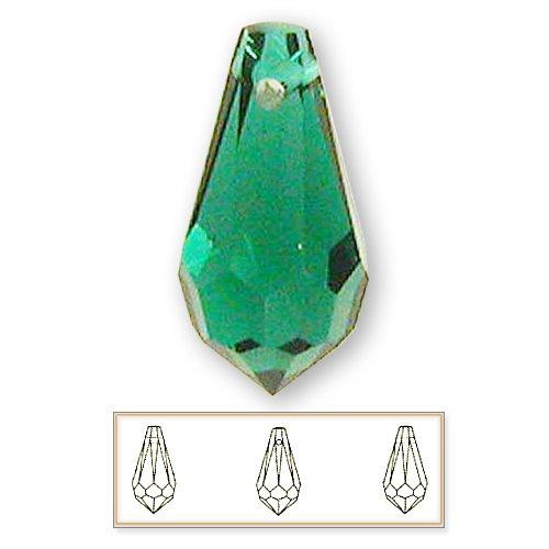 (24 pcs 11mm Swarovski Crystal 6000 Teardrop Pendant Beads, Emerald)