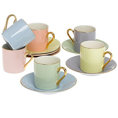 Gold Band Coffee (Classic Espresso Coffee Cups & Saucers (Set of 6) by Yedi Houseware|Premium Porcelain In Stylish, Pastel Colors with Gold Plated Rims & Handles for an Authentic, Italian Café Feel|2 ½ oz)