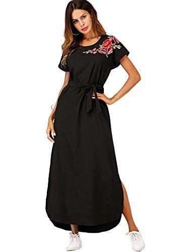 Verdusa Women's Side Split Roll-up Sleeve Self-Tie Waist Floral Shirt Dress 1-Black ()