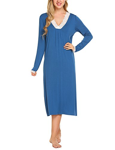 Ekouaer Long Sleeve Sleep Shirt for Women Lace Trim Nightgown V Neck Nightdress Blue