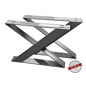 "2 Pack - Z Leg Style Table Brackets (Size Range: 14-33""L x 16-35""H) Square Metal Legs, Table Legs, Bench Legs, Legs, Modern, DIY"