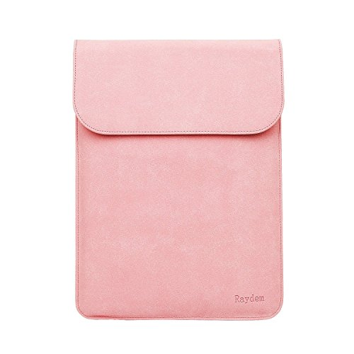 Touch Pink Leather Sleeve (MacBook Air/Pro Retina 13.3 Inch Sleeve Case, Raydem Sleeve Case Bag Cover for MacBook Air/Pro Retina 13.3-inch Anti-Scratch Soft Scrub PU Leather Laptop Carrying Bag - Pink)
