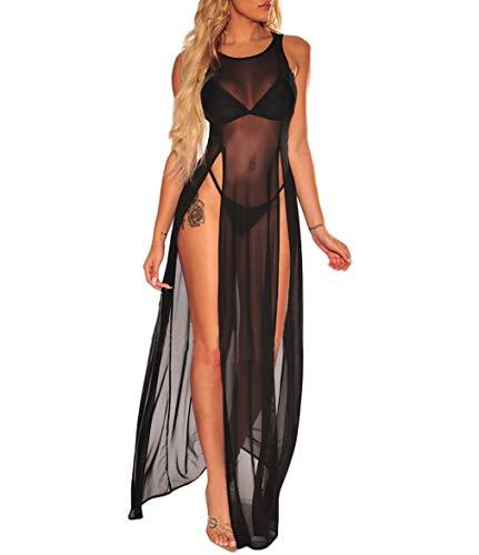 Womens Sexy Sheer Mesh Dress See Through Bikini Cover Up Split Maxi Dress Clubwear (Black, S)