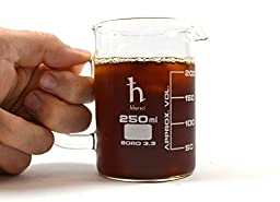 EISCO Premium Hand Crafted Beaker Mug, Thick Borosilicate Glass, Tea or Espresso Sized, 8.4oz. (250 mL), Small