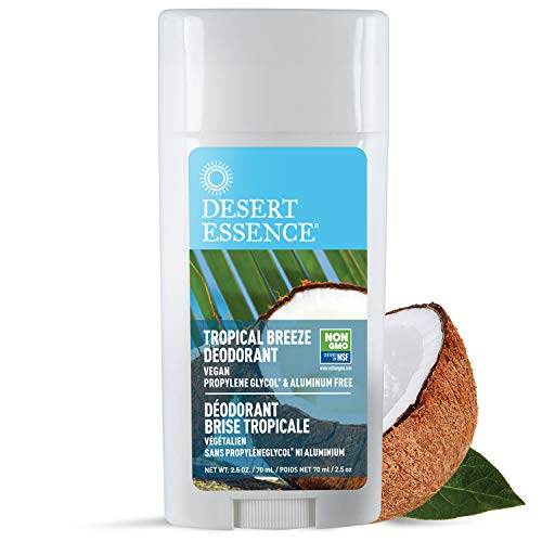 Desert Essence Tropical Breeze Deodorant - 2.5 Oz - Long Lasting Protection - Fresh Tropical Scent - Tea Tree Oil - Propylene Glycol & Aluminum Free - Neutralize Body Odor - Antiseptic