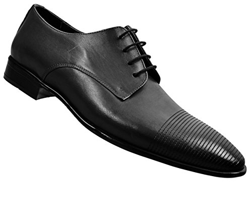 CAPRIUM Leder Herrenschuhe Schnürhalbschuhe Derby Business, Premium Qualität 0001135 Schwarz