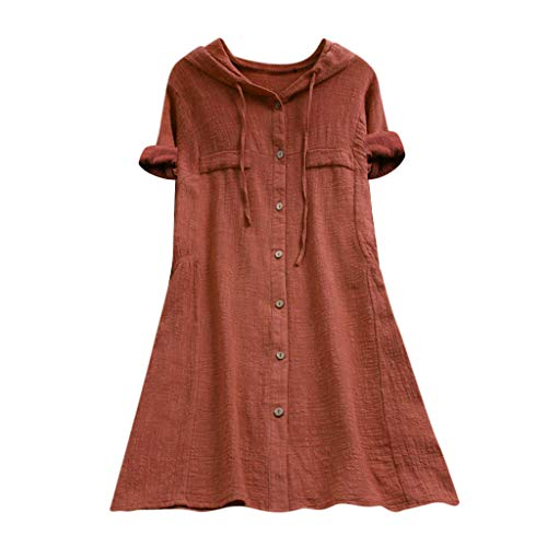 Aniywn Women Plus Size Cotton Linen Long Sleeve Hoodie Casual Button Long T-Shirt Blouse with Pocket