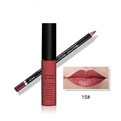 Tmalltide Waterproof Makeup Matte Liquid Lipstick Lip Gloss and Lip Liner Set (Bundle of 2 Items)- Perfect Pairings Collection