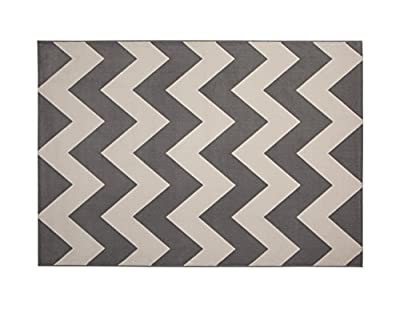 Abacasa Broadway Chevron Stripe Area Rug, 5' by 8', Grey/Ivory