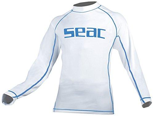 SEAC Kinder Unterzieher Shirt Sun Guard Long, Weiß/Blau, 7 Jahre