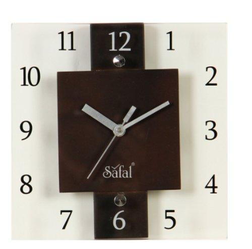 Safal Wooden Wall Clock (20.32 cm x 20.32 cm, Brown, SQ 3639)