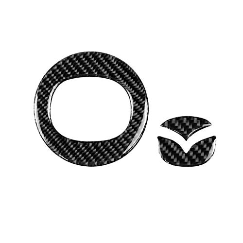 Aulley Carbon Fiber Steering Wheel Insert Emblem Badge Logo Cover Trim Set Replacemnt for Mazda CX-5 2017-2018 ()