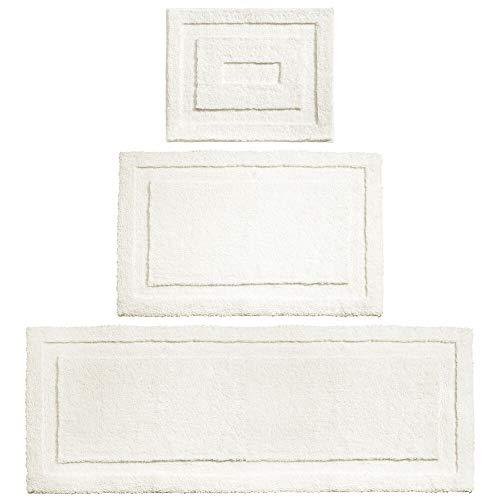 mDesign Soft Microfiber Non-Slip Bathroom Mat/Rug for Bathroom, Vanity, Bathtub/Shower, Dorm Room - Set of 3, Natural from mDesign