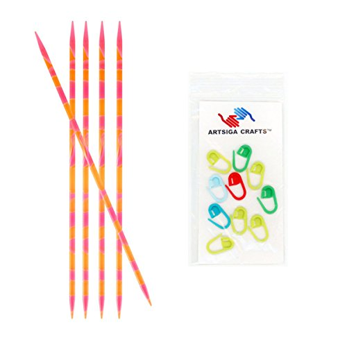 Knitter's Pride Knitting Needles Marblz Double Pointed (5-Pack) 6 inches (15cm) Size US 6 (4.00mm) Bundle with 10 Artsiga Crafts Stitch Markers 710003 (Needles Knitting Marble)