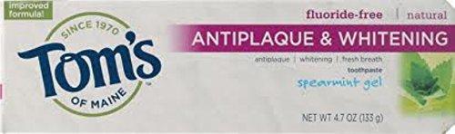 Antiplaque Plus Whitening Gel Toothpaste (Tom's of Maine Antiplaque Plus Whitening Gel, Spearmint 4.7 oz)