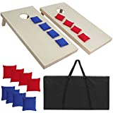 Nova Microdermabrasion 3ft X 2 ft / 4ft X 2ft Cornhole Bean Bag Toss Game Set Aluminum/Solid Wood/PVC Portable Design W/Carrying Case for Tailgate Party Backyard BBQ (4' x 2' Solid Wood)