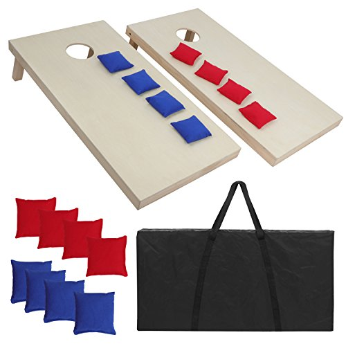 Corn Hole Game Diy (ZENY Portable Solid Wood Cornhole Bean Bag Toss Game Set Regulation Size 4ft x 2ft Cornhole Boards & 8 Bags Playset Backyard Lawn Corn Hole Outdoor Game)