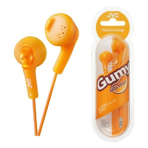 UKDapper JVC HAF160 Orange Gumy Bass Boost Stereo Headphones for iPod, iPhone, MP3 and Smartphone -