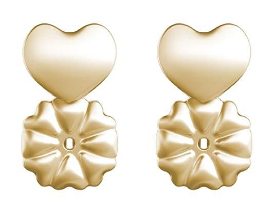 Designed 14k Gold Butterfly Charm - Earring Backs Support Earring Lifts Fits All Post Earrings Set Gold Color/Silver Color Earrings Jewelry Accessories-Earring Backings Heart Shape -Back Earrings Butterfly Shape-3 Pair (Gold, 1)