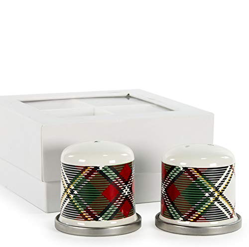 Salt and Pepper Shakers Includes 2 Salt Shakers & 2 Pepper Shakers Gift Set Tartan Plaid Gift Boxed