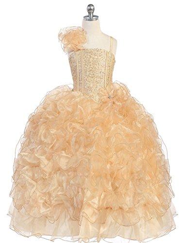 Gold Corset Bodice - WonderfulDress Sequin Corset Bodice Organza Ruffles Girl Dress-Gold-12
