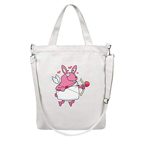 12.5X15 Inches Cute Zip Essential Everyday Canvas Large Tote Bag For Women Rabbit arrow Washable & Eco-Friendly Beach Work Gym Book Lunch School Shopping Shoulder Handbag