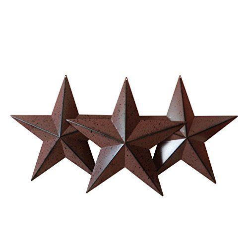CVHOMEDECO. Country Rustic Antique Vintage Gifts Burgundy/Black Metal Barn Star Wall/Door Decor, 12-Inch, Set of - Barn Metal