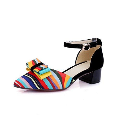 Zapatos de mujer cuero sintético primavera verano tacón grueso bowknot conjunta dividida para vestido casual al aire libre negro rojo azul Black