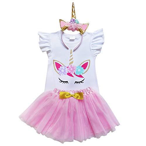 So Sydney Toddler Girls Unicorn Tutu Ruffle Dress or Skirt & Horn Headband Costume (S (3T), Pink & Gold Flutter) ()