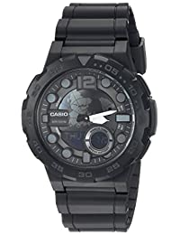 Casio Men's 'CLASSIC' Quartz Stainless Steel and Resin Casual Watch, Color:Black (Model: AEQ-100 W-1BVCF)