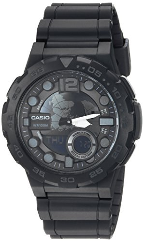 Casio Men's 'CLASSIC' Quartz Stainless Steel and Resin Casual Watch, Color:Black (Model: AEQ-100W-1BVCF)