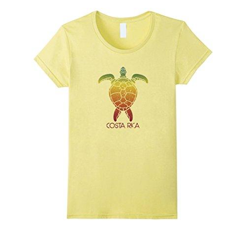 Womens Costa Rica Retro Vintage Sea Turtle T-Shirt Surf Tee Medium Lemon