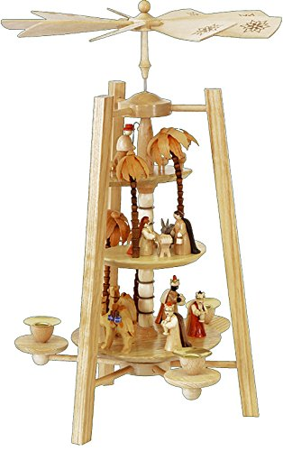 German christmas pyramid Nativity scene, 3-tier, height 42 cm / 17 inch, natural, original Erzgebirge by Richard Glaesser Seiffen