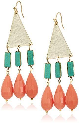 Panacea And Coral Drop Earrings, Turquoise, 3