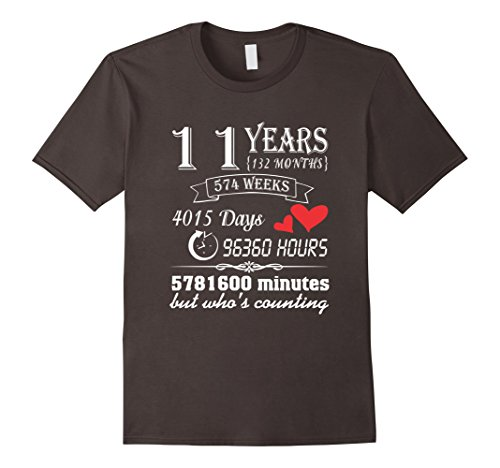Mens Anniversary Gift 11th T-Shirt 11 Years Wedding Marriage Gift XL Asphalt