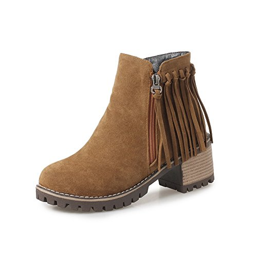 Boots Yellow Square Suede Ankle Fringed High AdeeSu Heels Womens SXC02576 qH6wnR0