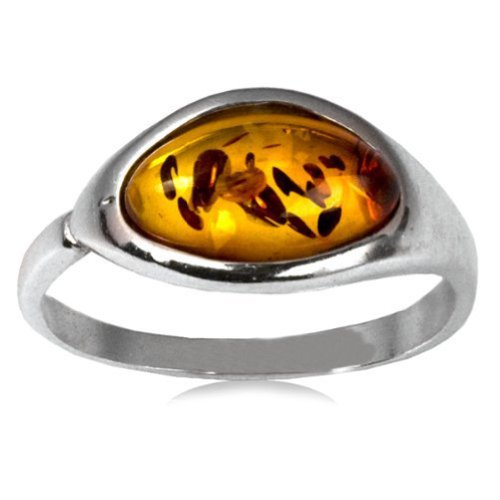 Sterling Silver Amber Oval Shaped Stone Classic Ring - Oval Amber Stone