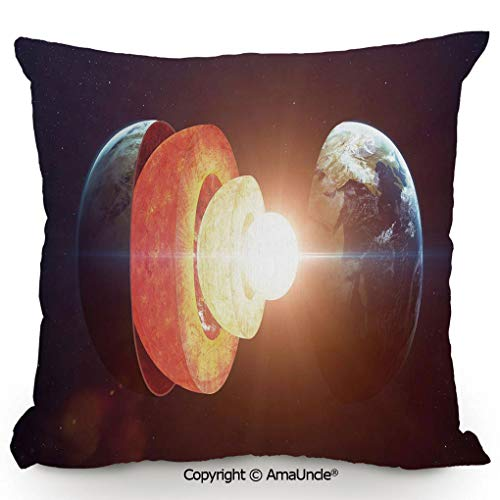 AmaUncle Decorative Square Throw Pillow Case with Cotton and Linen,Core of the Earth Structure Burning Magma Geomagnetic Tectonic Split Decorative,W16xL16 Inches,Modern Design with 3D Printed Soft ()