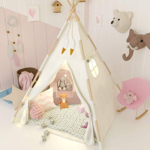 TazzToys Kids Teepee Tent for Kids with Fairy Lights +Waterproof