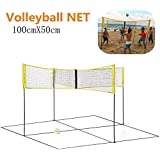 4 Sided Volleyball Net Set Outdoor Portable Beach Volleyball Net Game for Outdoor for Indoor Sports Backyard Schoolyard Pool Beach(with Poles)