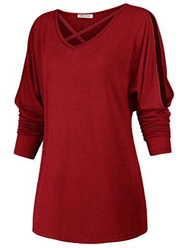 SeSe Code Flattering Blouses for Women, Girls' Cold Shoulder Long Sleeve Criss Cross V-neck Lightweight Shirts Casual Fashion Clothing for Vacation M Wine