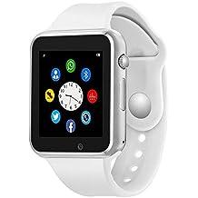 Bluetooth Smart Watch - Wzpiss Smartwatch Touch Screen Wrist Watch Camera/SIM Card Slot Compatible iOS iPhones Android Samsung Kids Women Men (White)