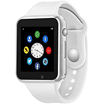 Bluetooth Smart Watch - Wzpiss Smartwatch Touch Screen Wrist Watch Camera/SIM Card Slot Compatible iOS iPhones Android Samsung Kids Women Men (White)
