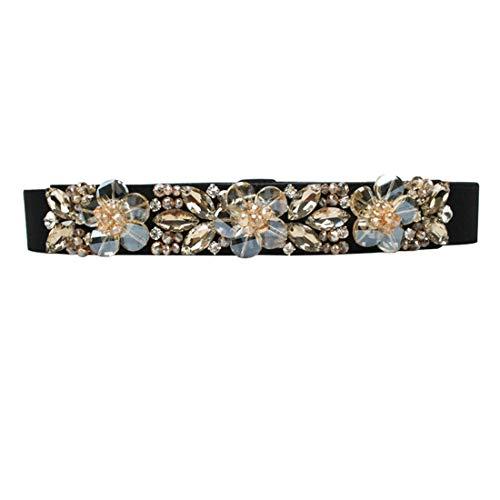 shengweiao Women's Crystal Rhinestone Elastic Skinny Waist Belt (Champagne, Suit Waistline 26.7