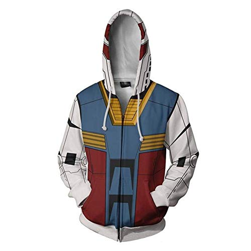 Mikucos Gundam Jacket Coat Hooded Hoodie Swater Costume Cosplay 3XL RX-78 -