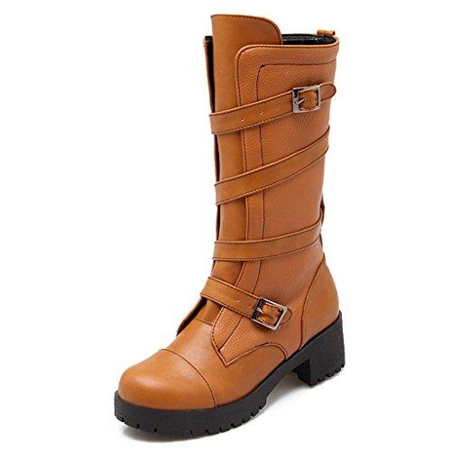 Kaloosh Women's Round Toe Block Low Heel Double Strap Buckle Comfortable Mid-Calf Boots Light Brown GZqDpO