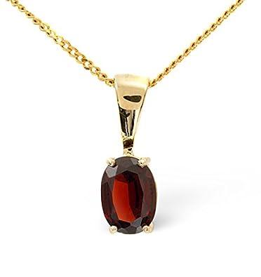 1671fa825 7mm x 5mm Garnet and Diamond 9K Gold Pendant - B3388: Amazon.co.uk:  Jewellery