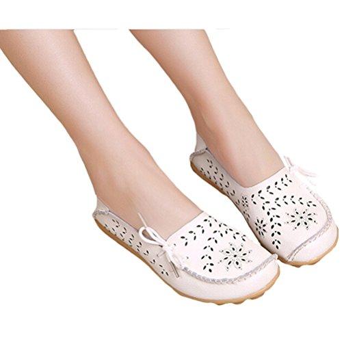 MatchLife Damen Vintage Leder Flach Pumpe Casual Schuhe Weiß-Art 2