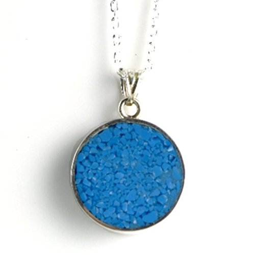 Religious Turquoise Pendant - Women's Sterling Silver 5mm Thick Round Blue Turquoise Pendant Necklace 18'' Chain