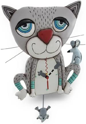 Allen Designs Mouser Whimsical Gray Cat Pendulum Wall Clock ,One Size ,White